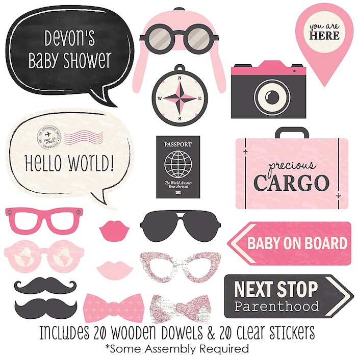 large baby shower photo booth props