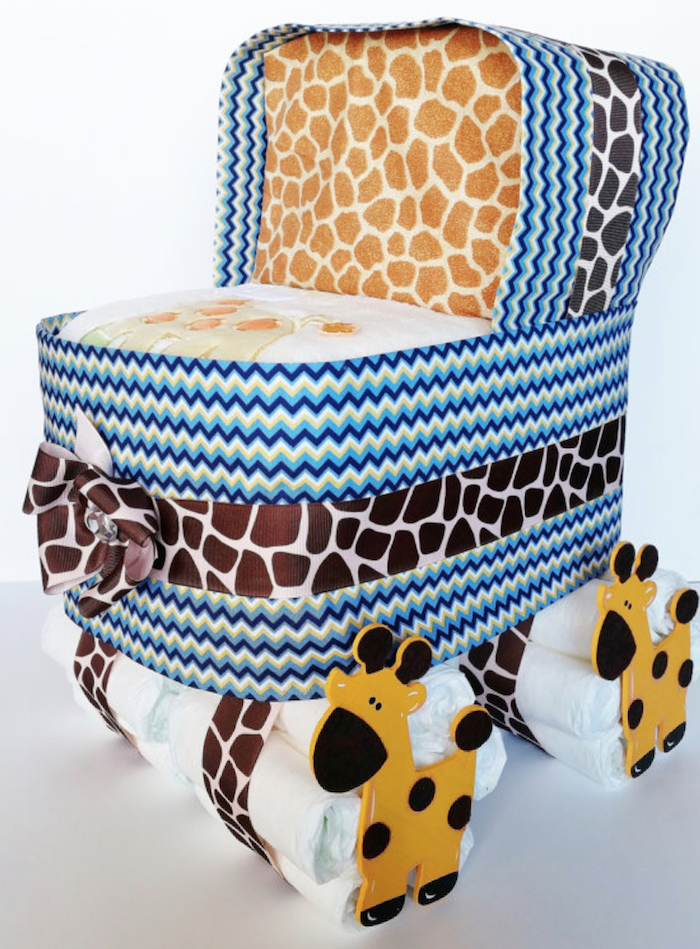 baby shower diaper cake animal print stroller