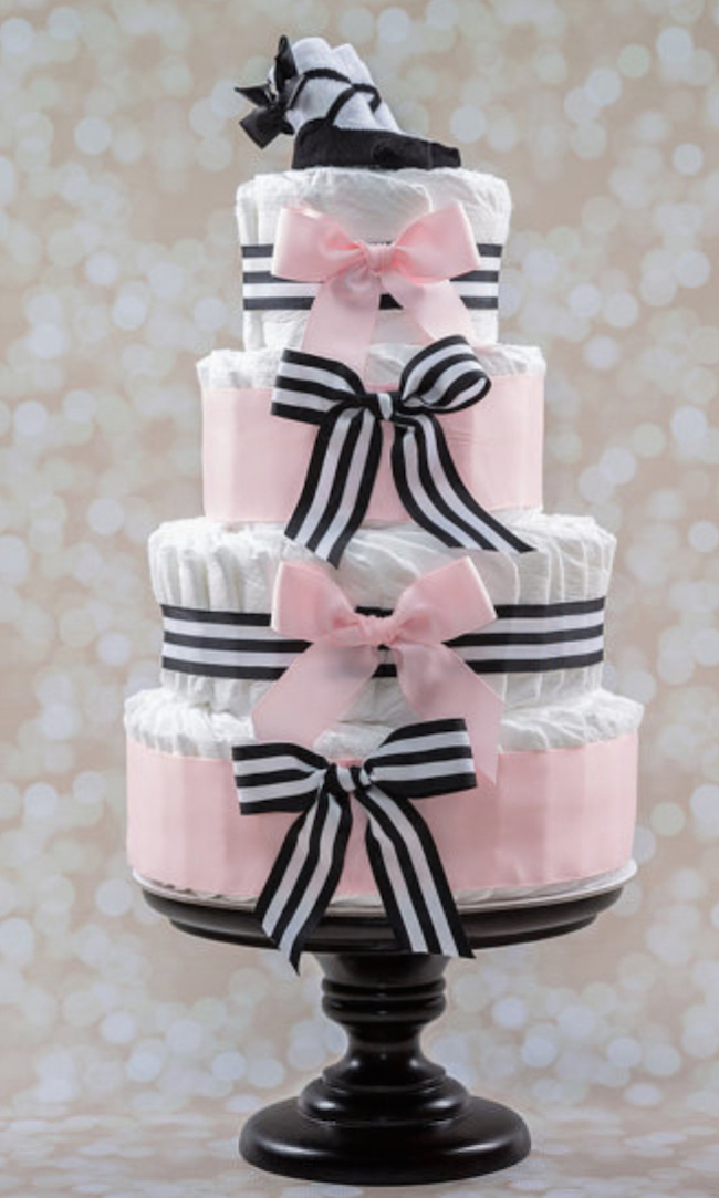 baby shower diaper cake pink black