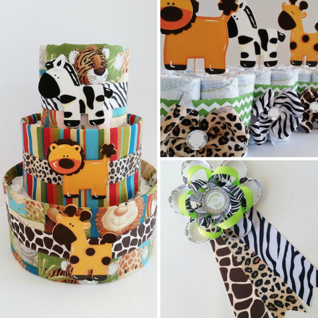 baby shower diaper cake safari