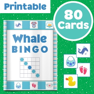 Whale Baby Shower Game Blue