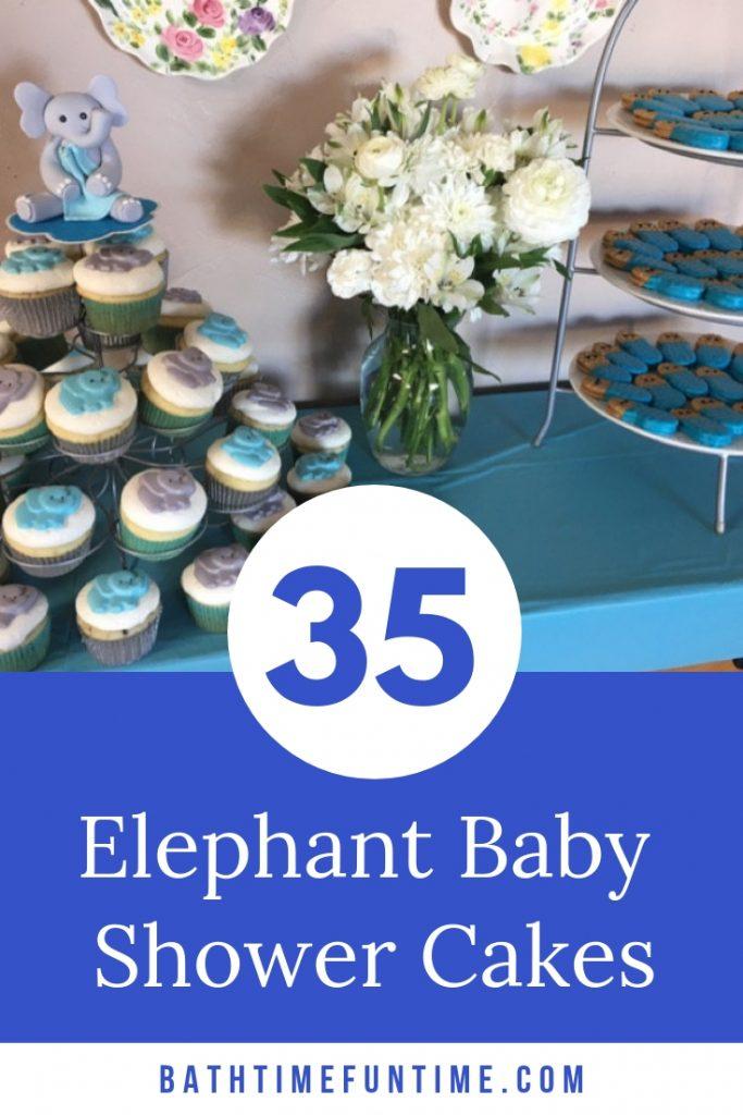 The BEST Elephant Baby Shower Cakes to inspire you for your elephant baby shower theme - including cake toppers, boy elephant, girl elephant & neutral. #elephantbabyshower #babyshowercakes #elephantcake #elephantprintable #navybabyshower