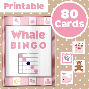 Whale Baby Shower Game Pink