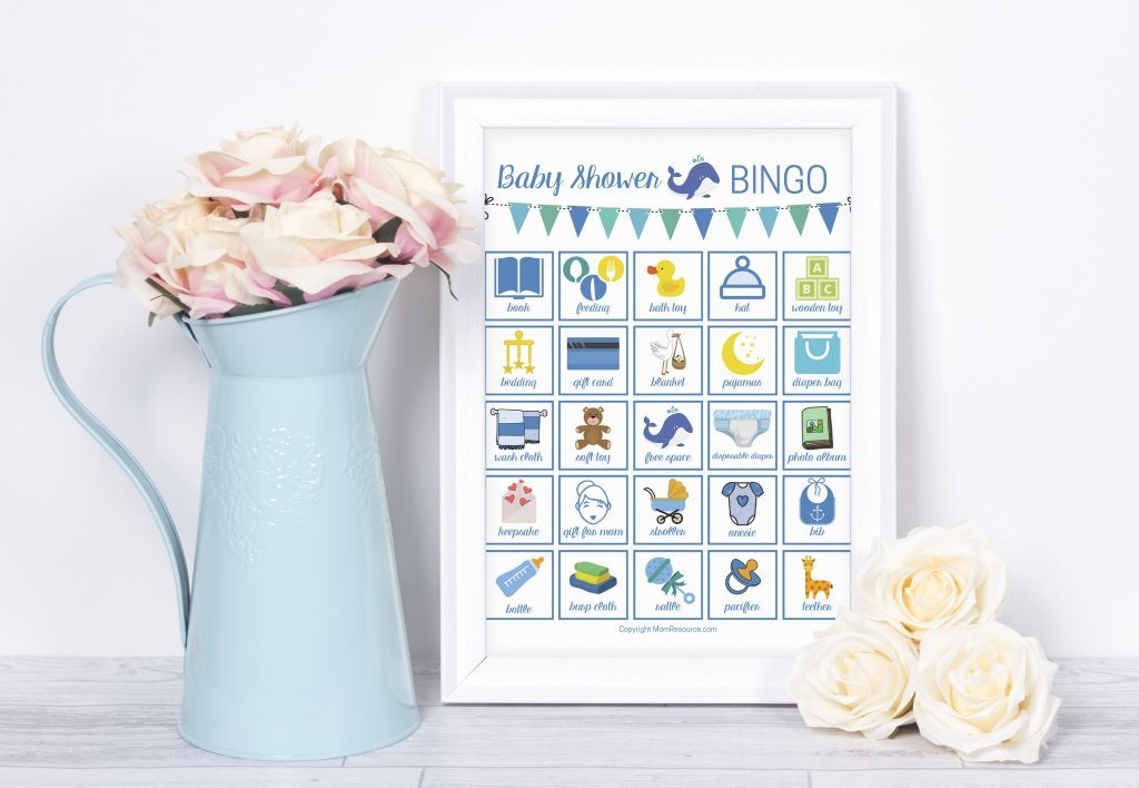 Cute & modern baby bingo whales game perfect for whale theme baby shower. Super fun baby shower game for your guests - a modern twist on the classic bingo game. Made just for whale baby showers with up to 80 printable baby shower bingo cards - all unique & easily printable for you! #babybingo #babyshowerbingo #babyshowerprintable #babyshowergame #babyshowergames