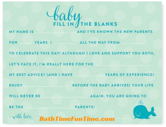 whale baby shower games theme