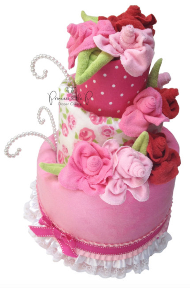 baby shower diaper cake flowers