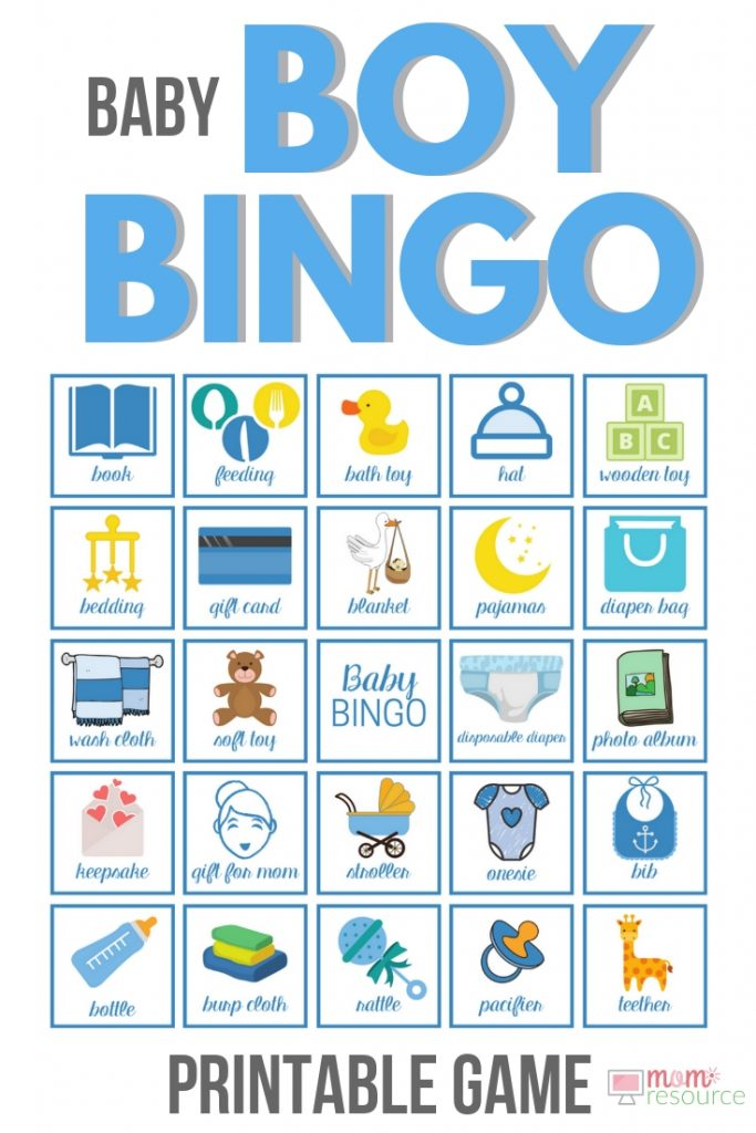 Looking for baby bingo boy shower games? Here are 80 cute baby bingo boy cards! Printable baby shower bingo cards ready to play immediately - all you need is 1 baby shower bingo card & a pen for each guest! You can print in beautiful full color & play right away. Just like Etsy - created by a stay at home mom for your fun baby shower. #babybingo #babyshowerbingo #babyshowerprintable #babyshowergame #babyshowergames