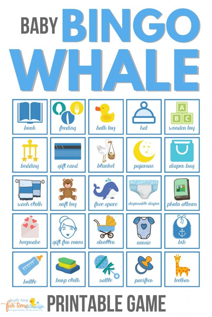 Cute & modern baby bingo whale game perfect for whale theme baby shower. Super fun baby shower game for your guests - a modern twist on the classic bingo game. Made just for whale baby showers with up to 80 printable baby shower bingo cards - all unique & easily printable for you! #babybingo #babyshowerbingo #babyshowerprintable #babyshowergame #babyshowergames