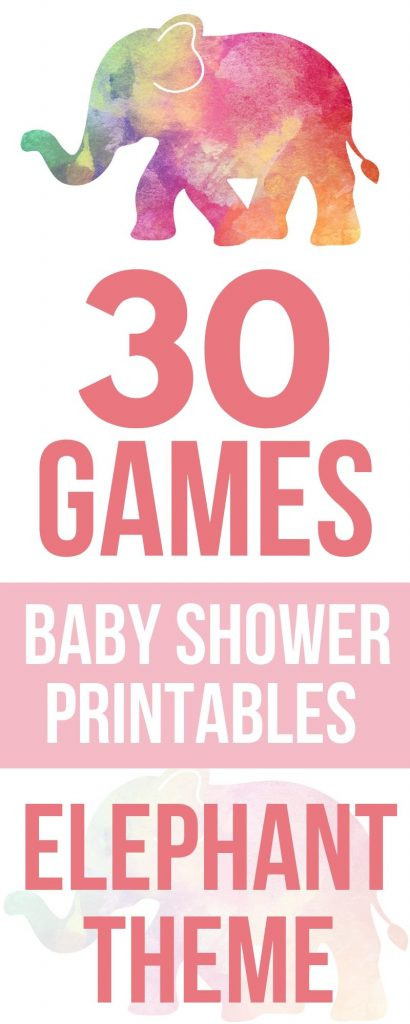 Looking for elephant baby shower games? Find printable games for girls and boys in pink and blue.